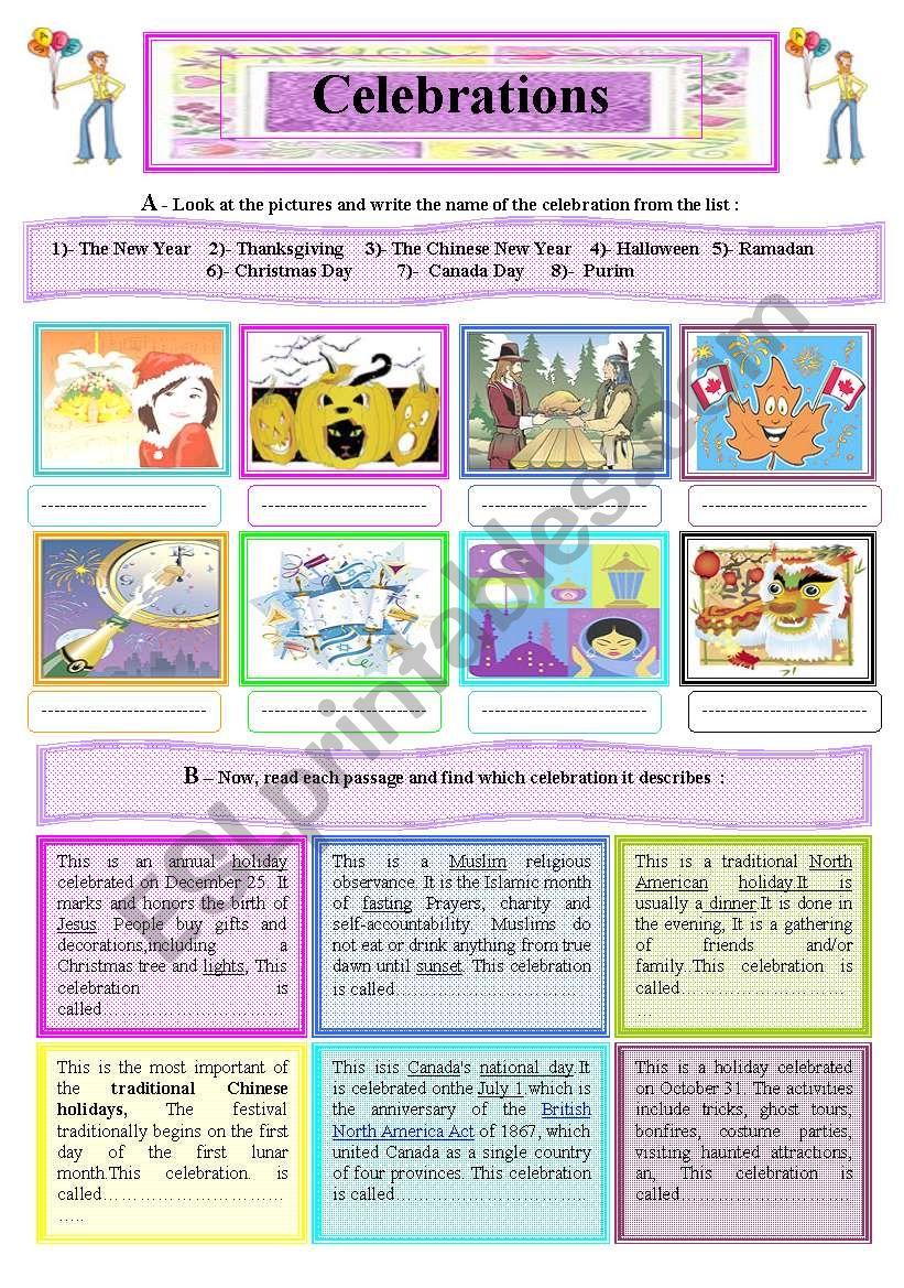 A 2-Skill Worksheet : Internatioal Celebrations