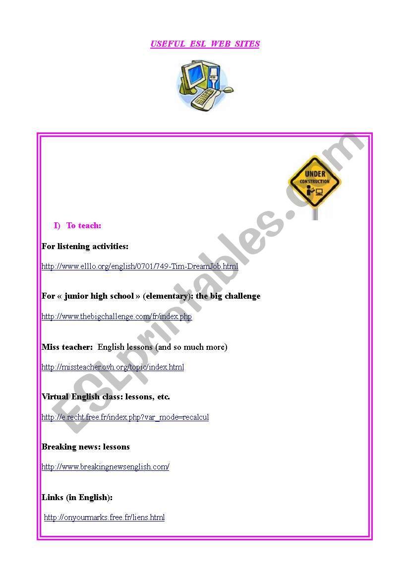 Useful sites for ESL teachers worksheet