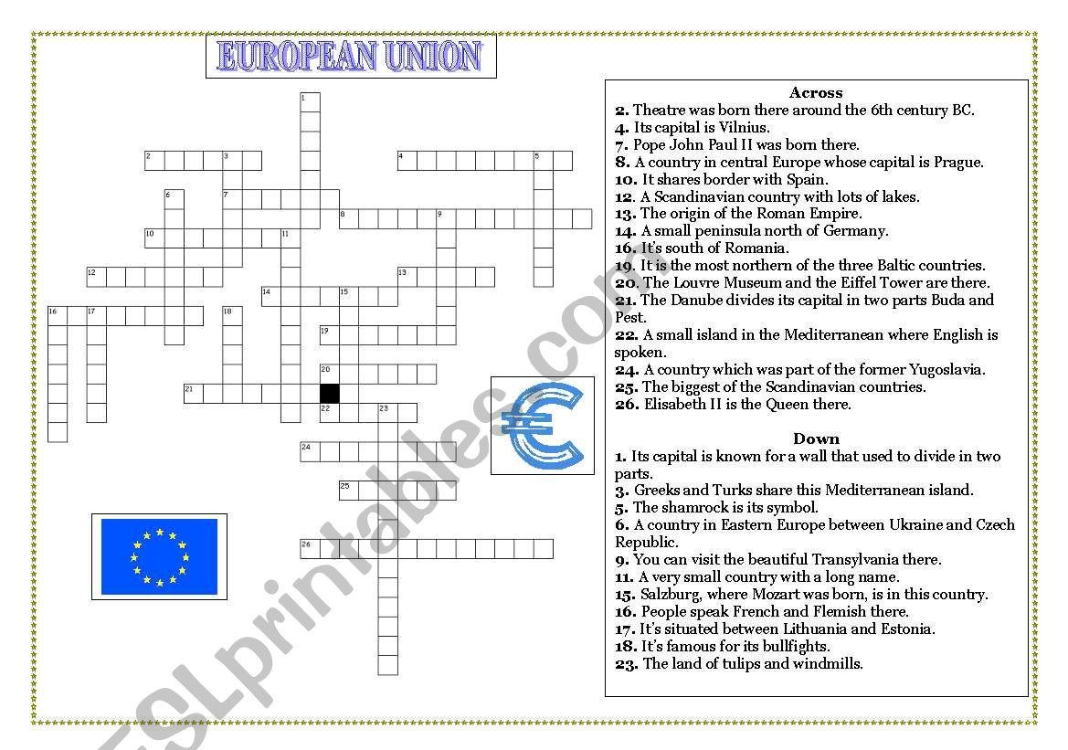 EUROPEAN UNION MEMBERS- CROSSWORD