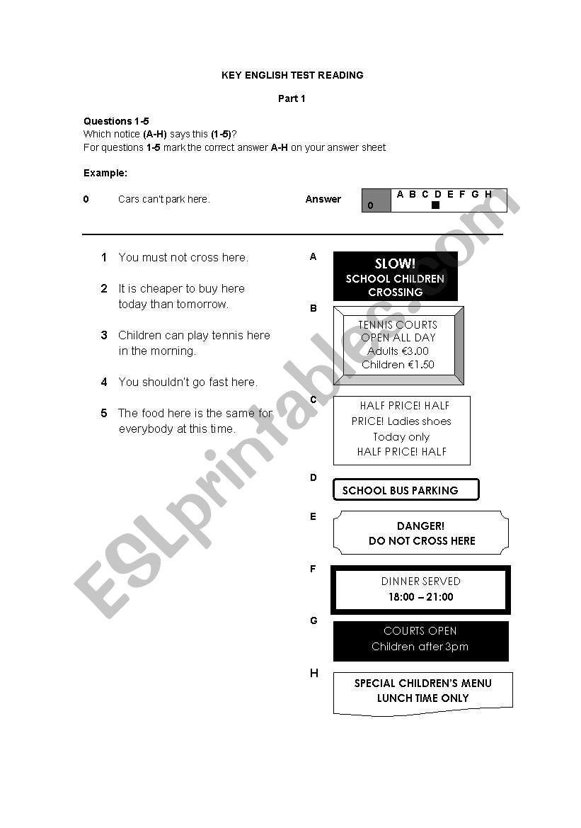 KET Reading Part 1 worksheet