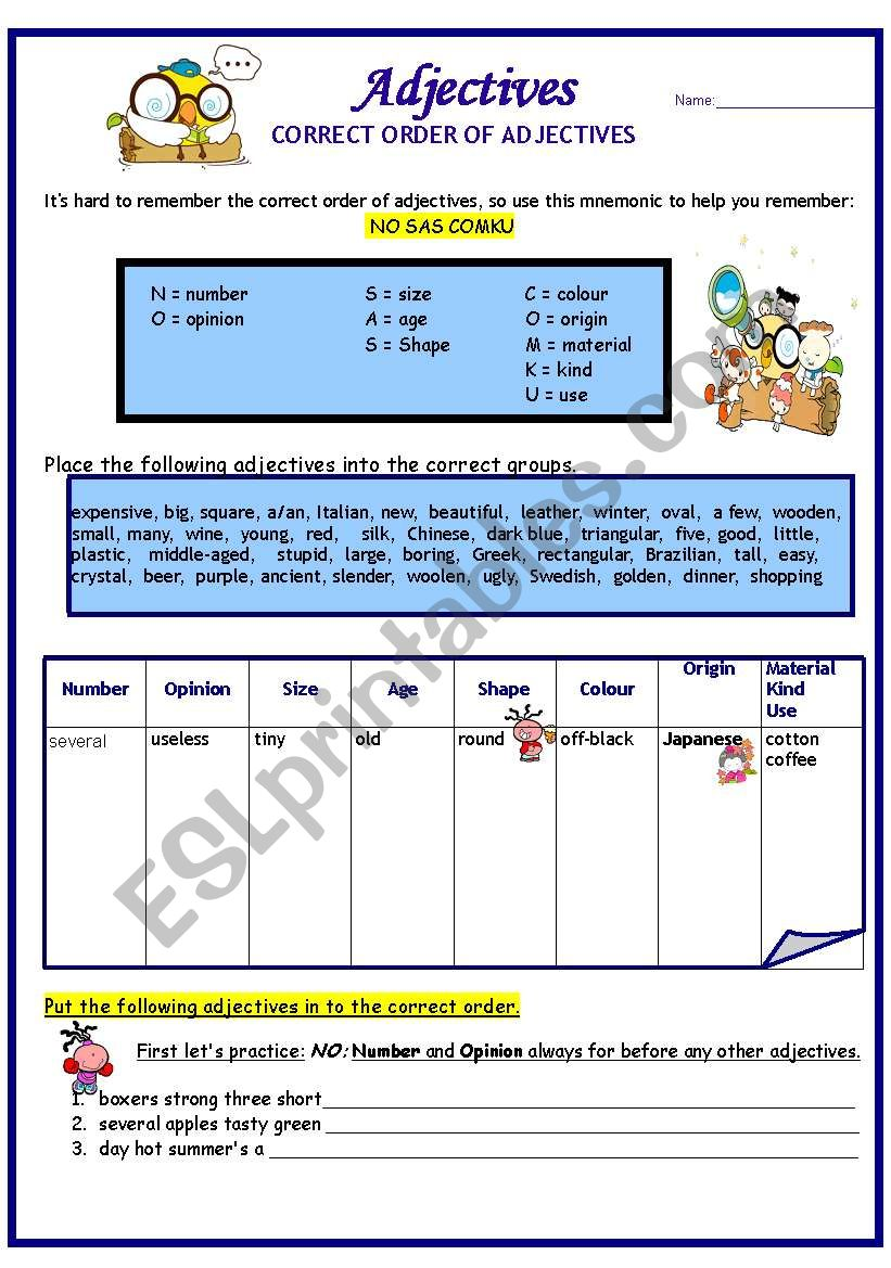 Adjectives:  Correct Order  (1st of 2)