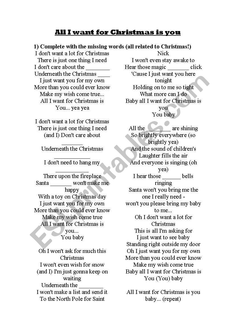 all i want for christmas is you mariah carey song and exercises - All I Want For Christmas Song
