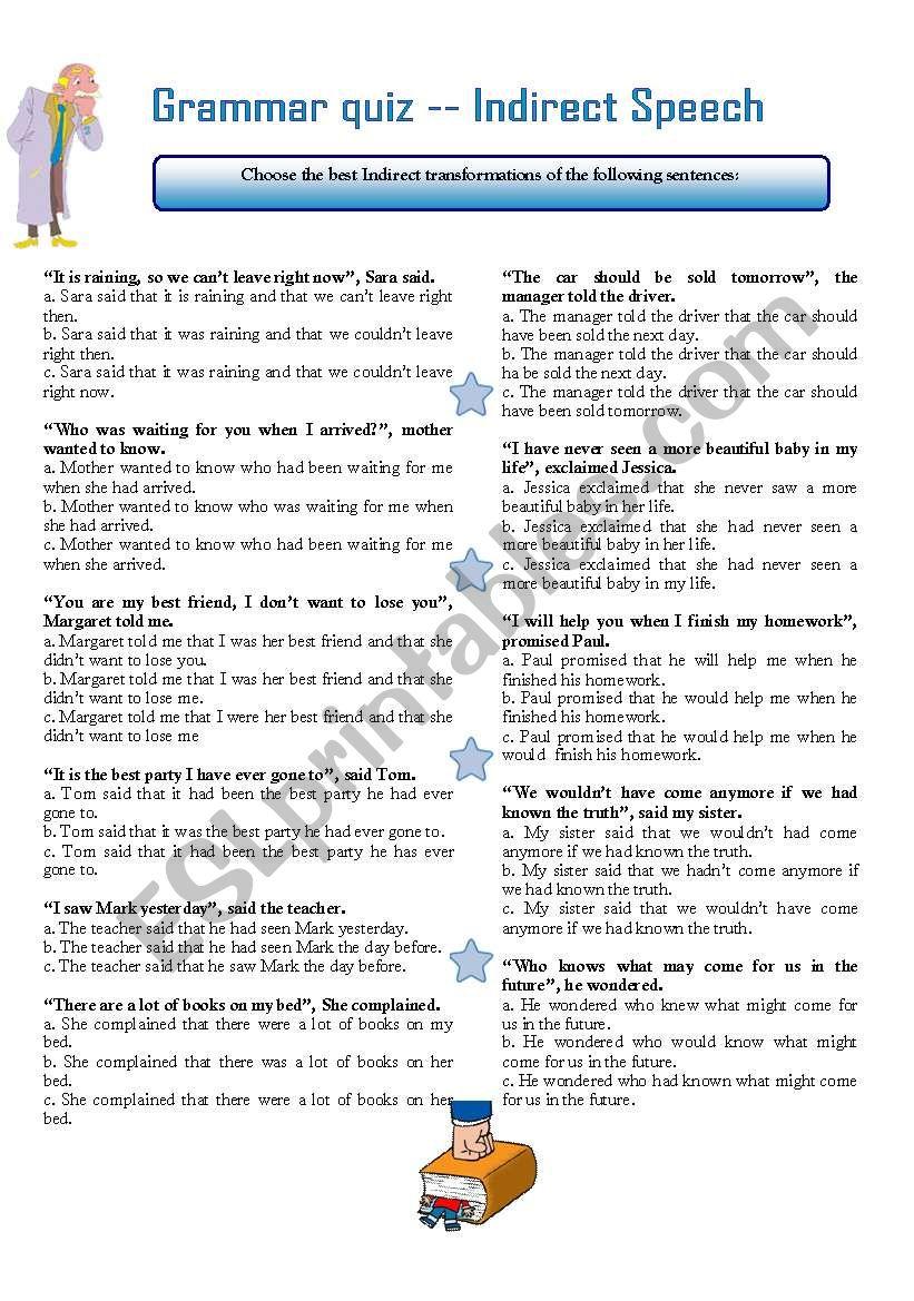 GRAMMAR QUIZ INDIRECT SPEECH worksheet
