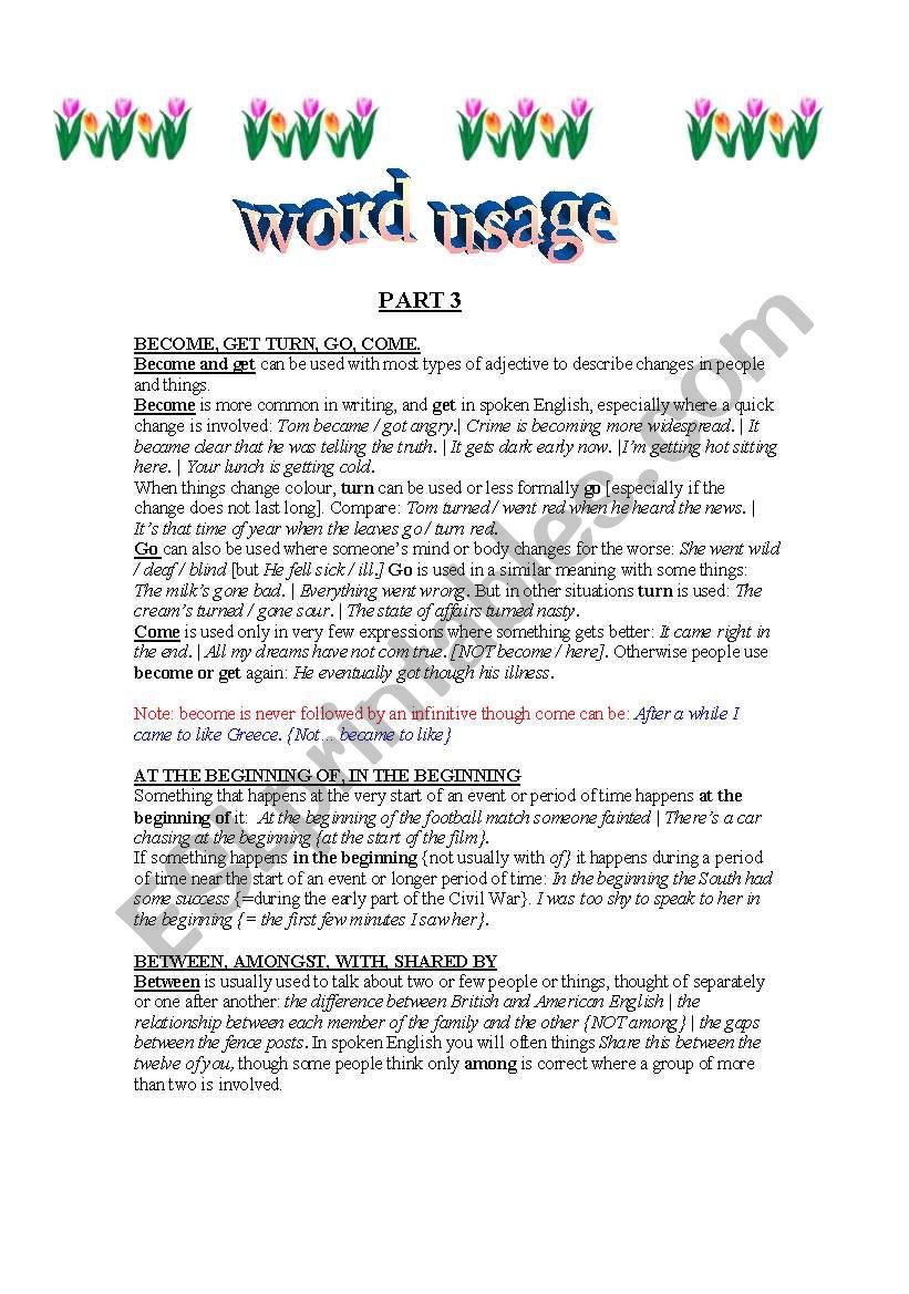 WORD USAGE 3 worksheet