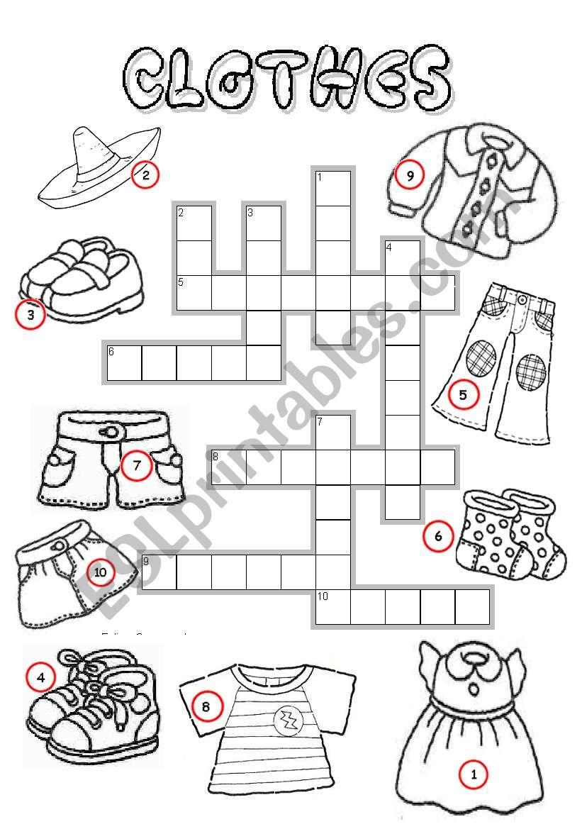 Clothes Crossword worksheet