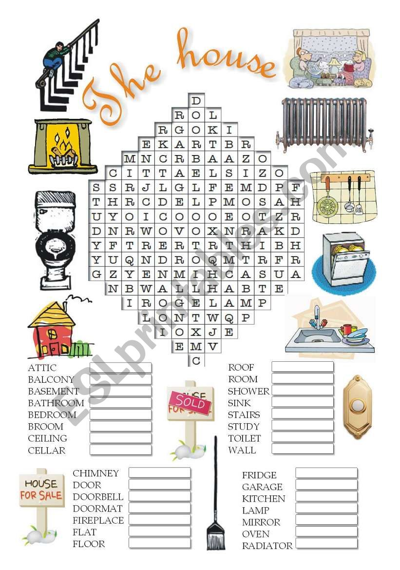 The house wordsearch worksheet