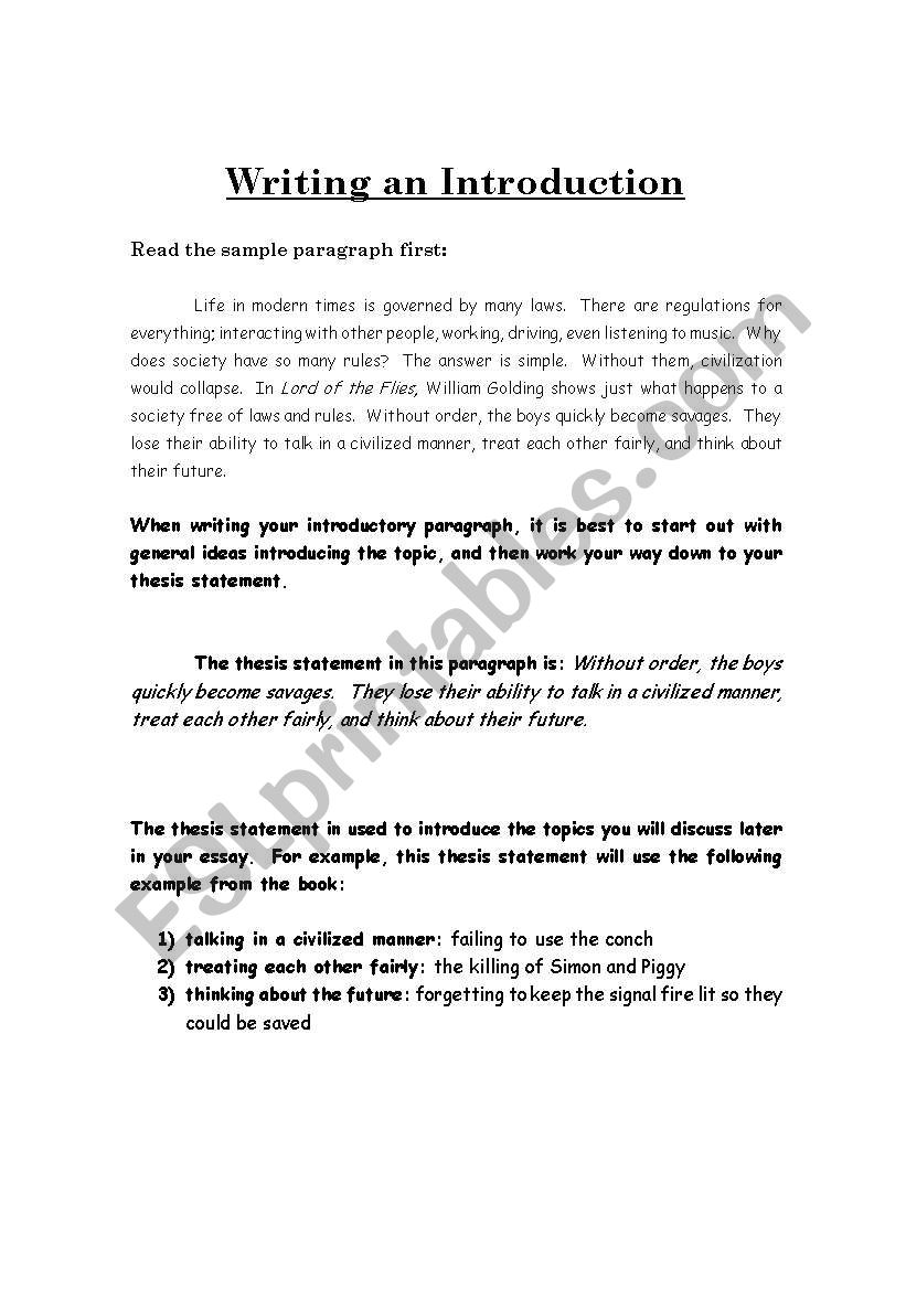 english worksheets writing an introduction to a  paragraph essay writing an introduction to a  paragraph essay