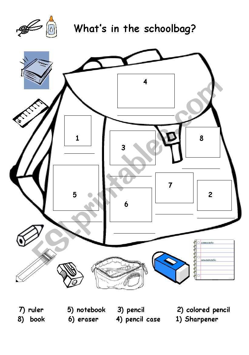 classroom Items worksheet