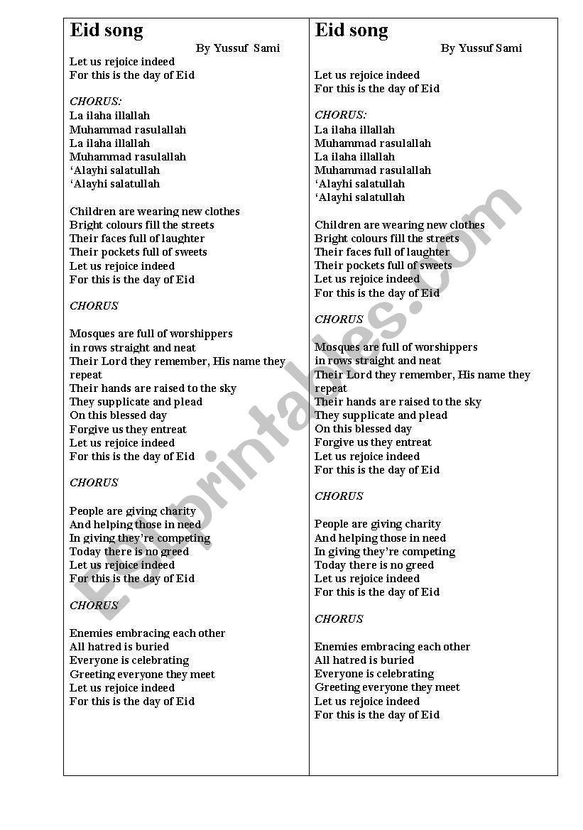 Eid song by Sami Yusuf worksheet