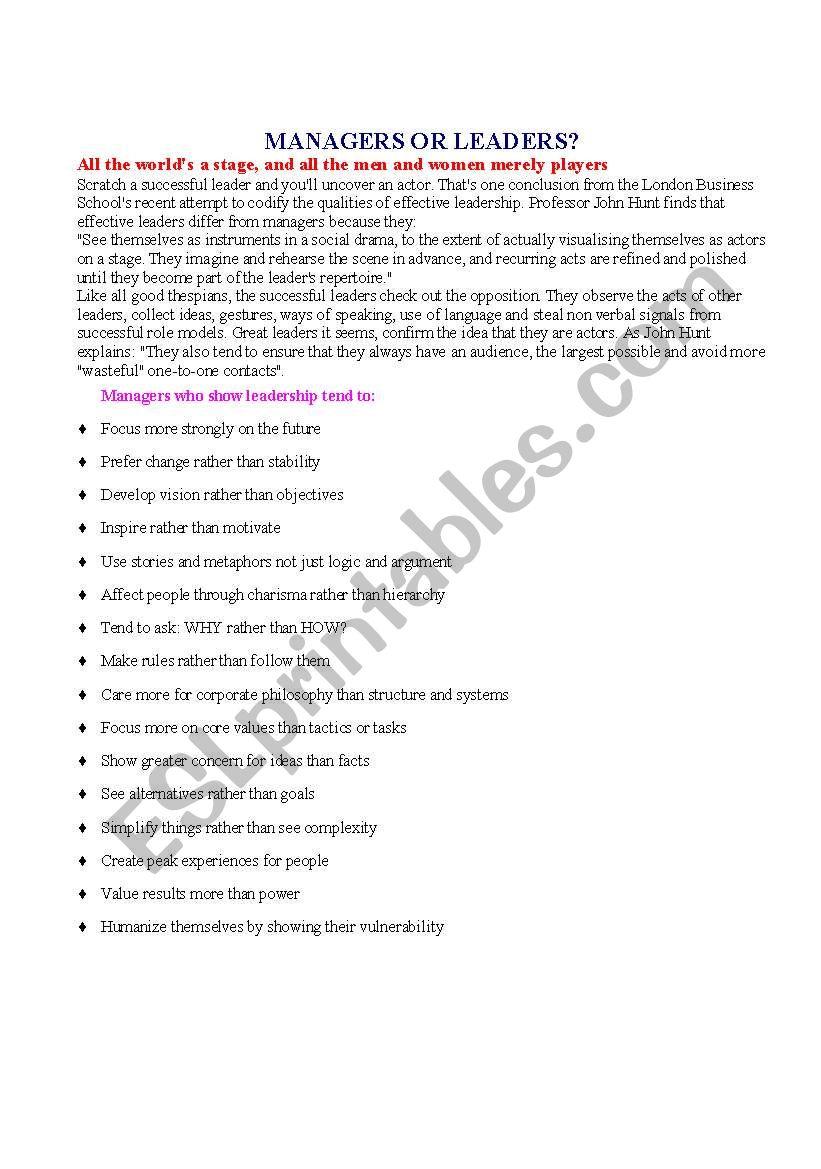 Managers or leaders worksheet