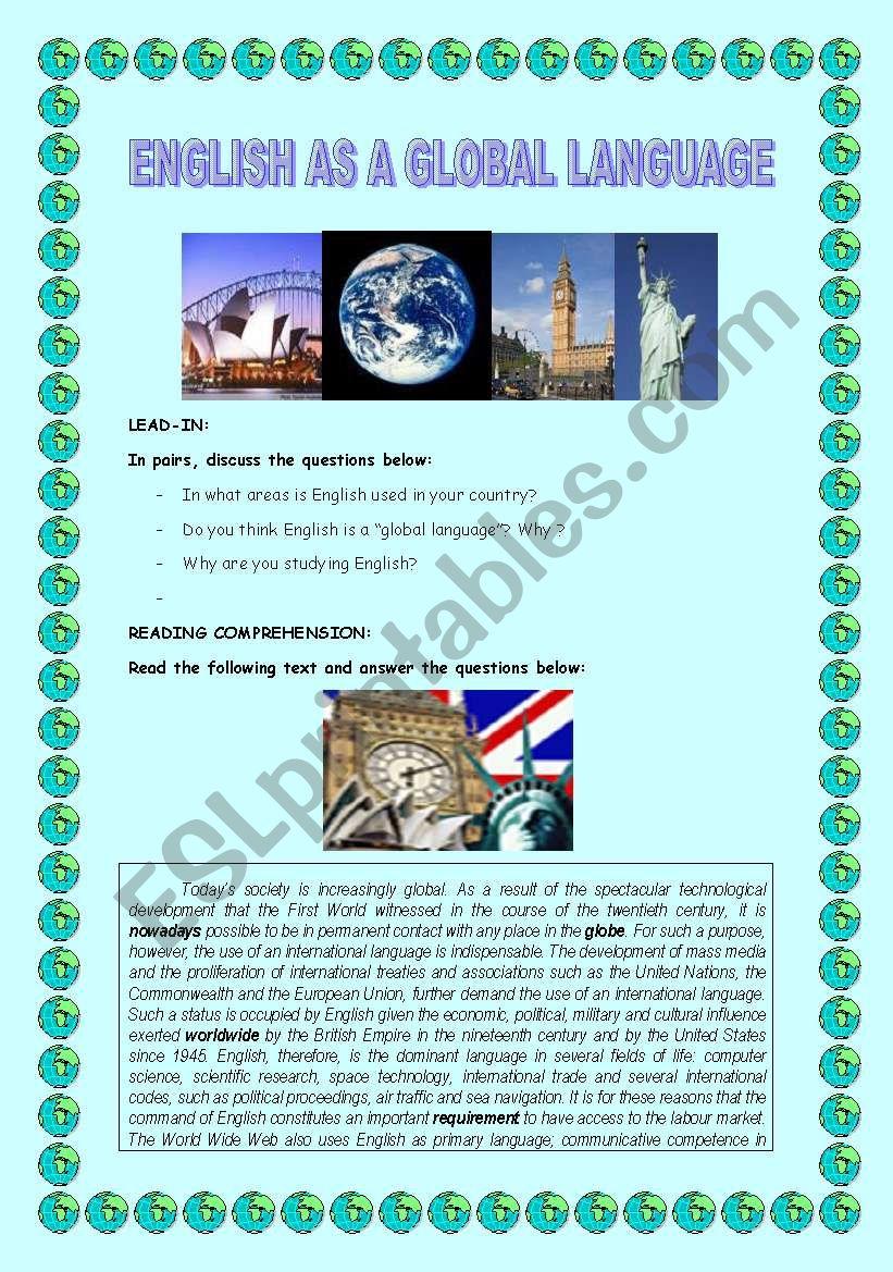 ENGLISH AS A GLOBAL LANGUAGE worksheet