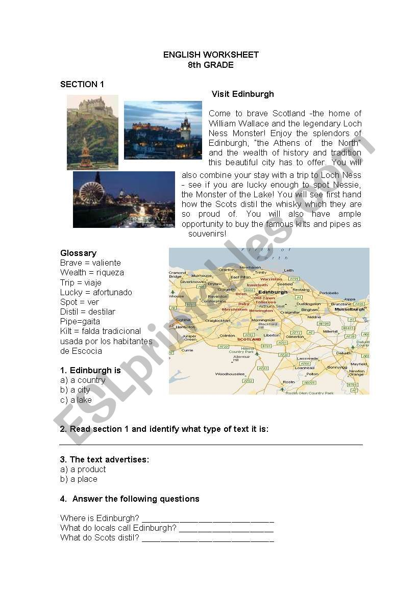 A VISIT TO EDINBURGH worksheet