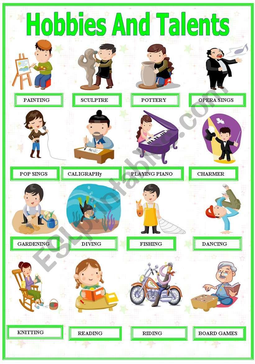 Hobbies And Talents worksheet