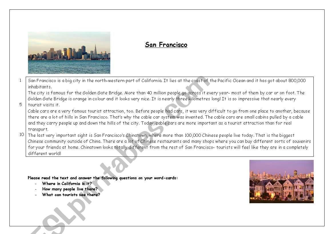 San Francisco worksheet