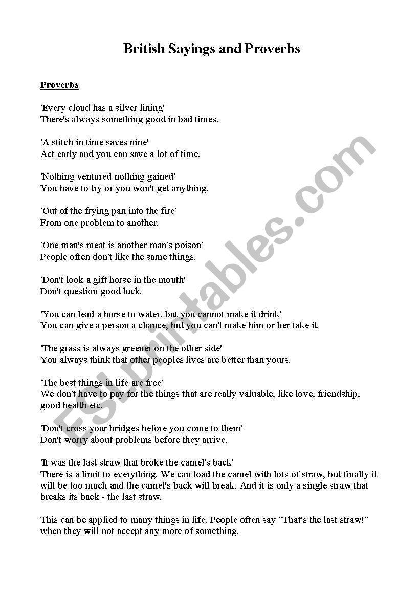 British Sayings and Proverbs worksheet