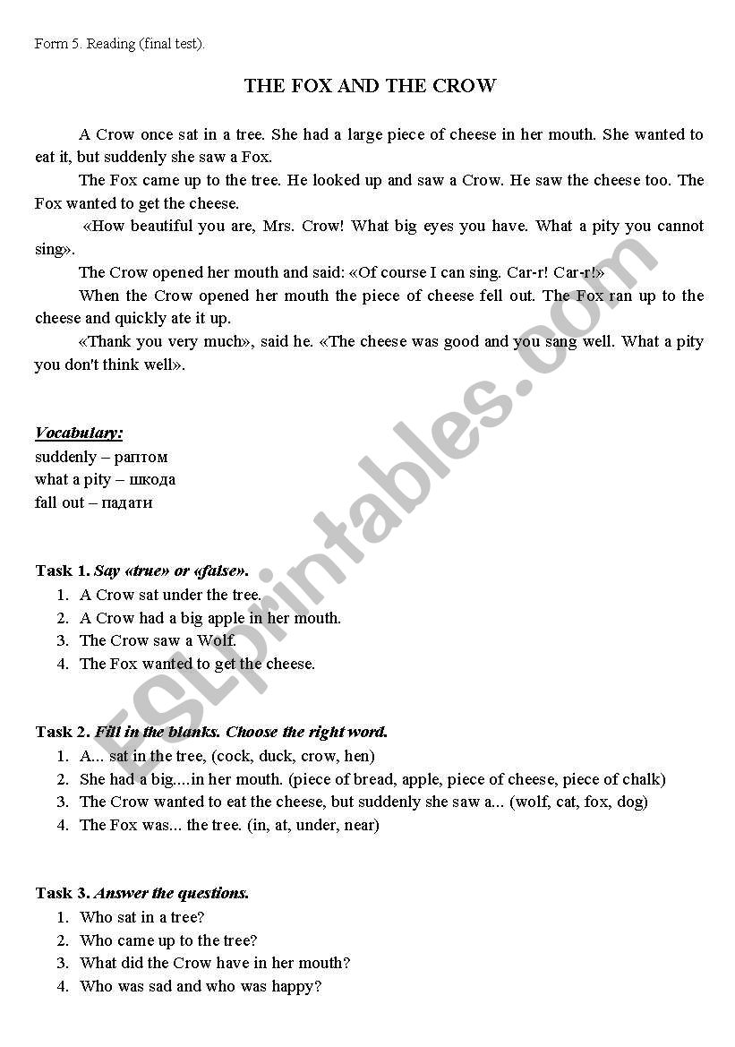 THE FOX AND THE CROW worksheet