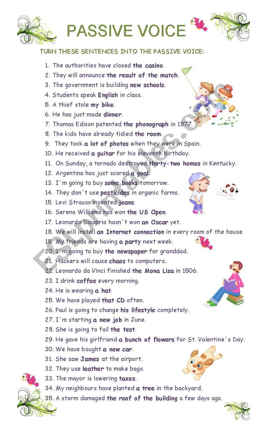 PASSIVE VOICE (intermediate) worksheet