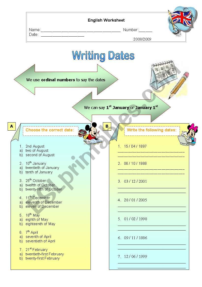 Writing dates worksheet