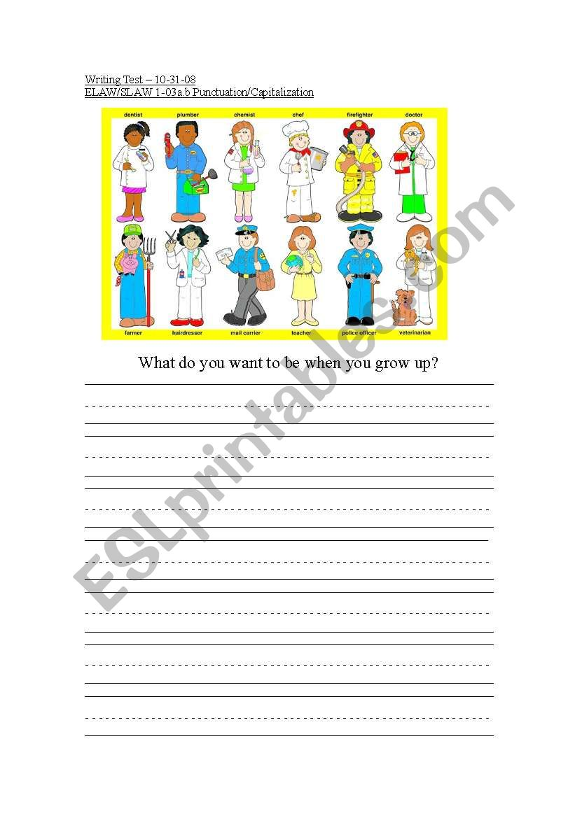 English Worksheets Community Helpers