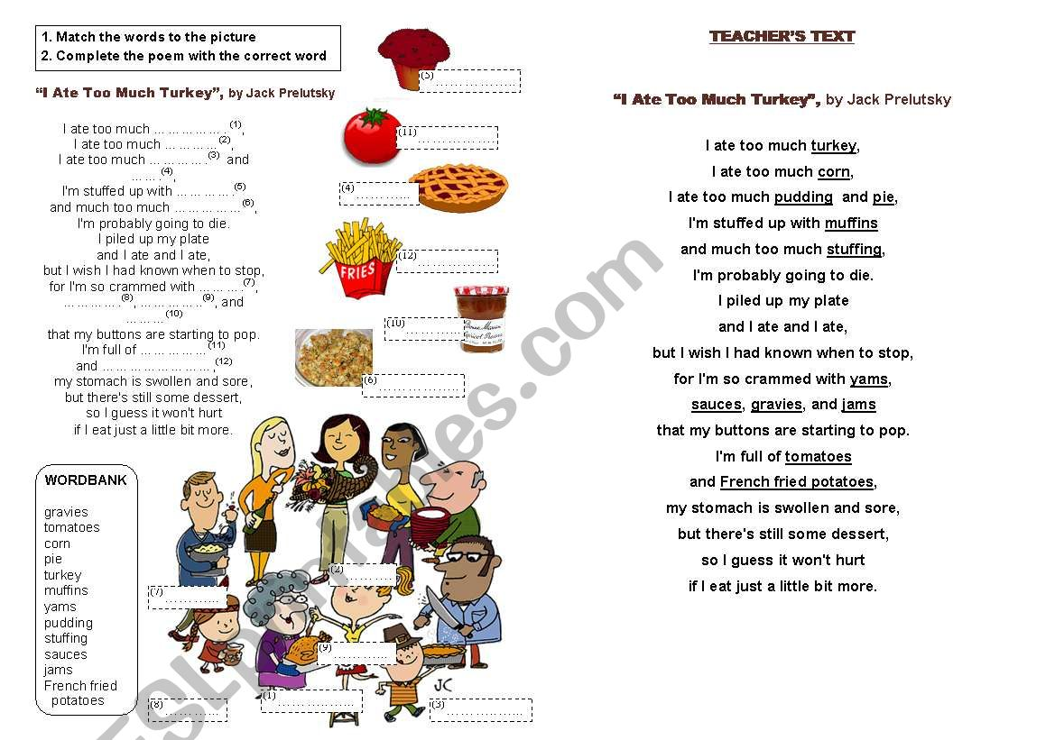 Thanksgiving poem: I ate too much turkey