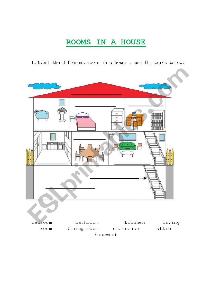 Rooms in a house worksheet