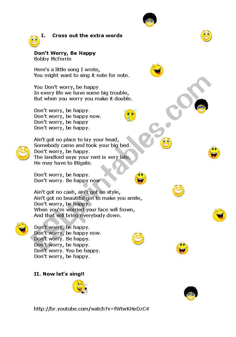 Don´t worry be happy worksheet