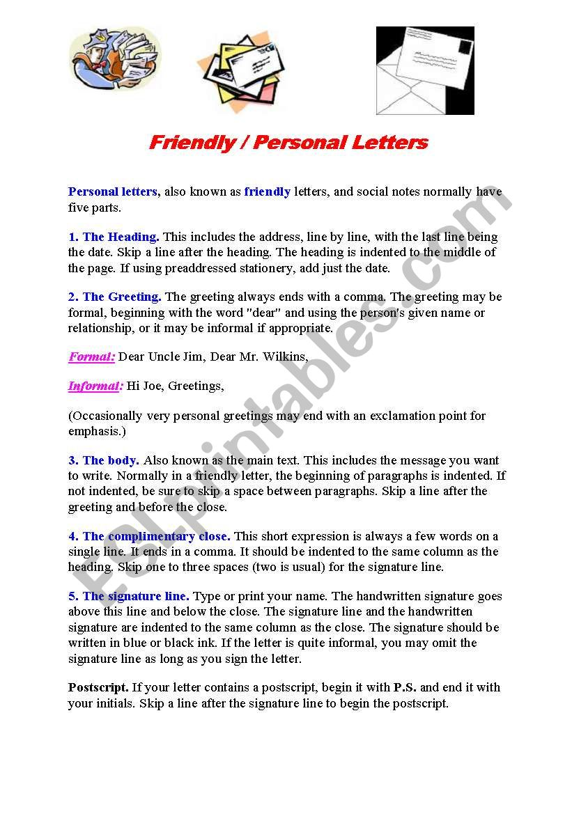 How To Write A Friendly Letter Esl Worksheet By Holzauge