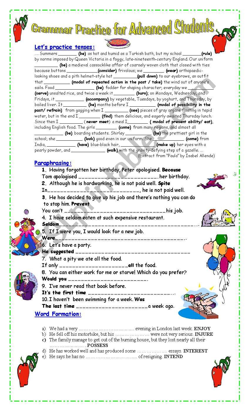 grammar practice for advanced students esl worksheet by pacchy. Black Bedroom Furniture Sets. Home Design Ideas