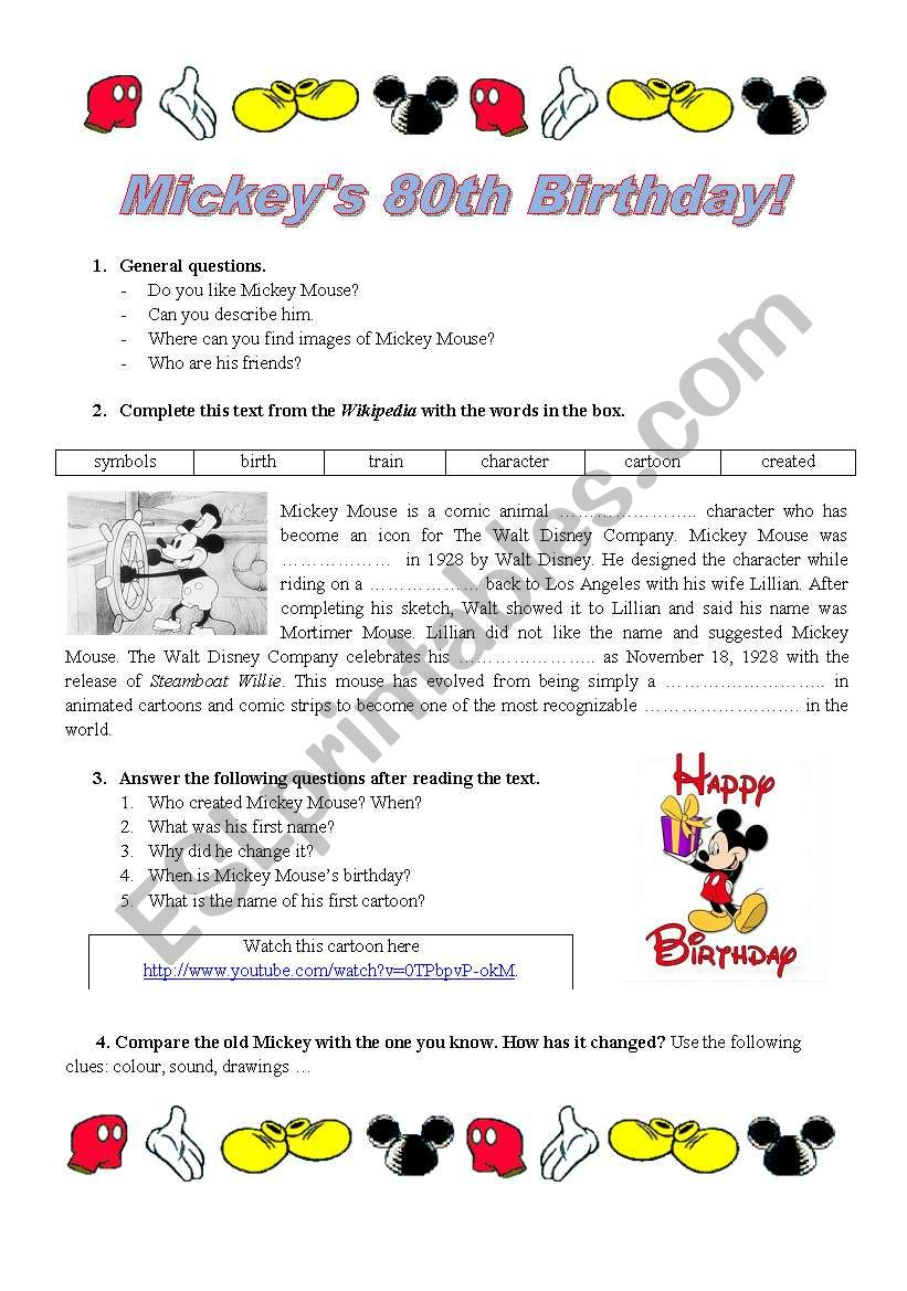 Mickey´s 80th Birthday worksheet