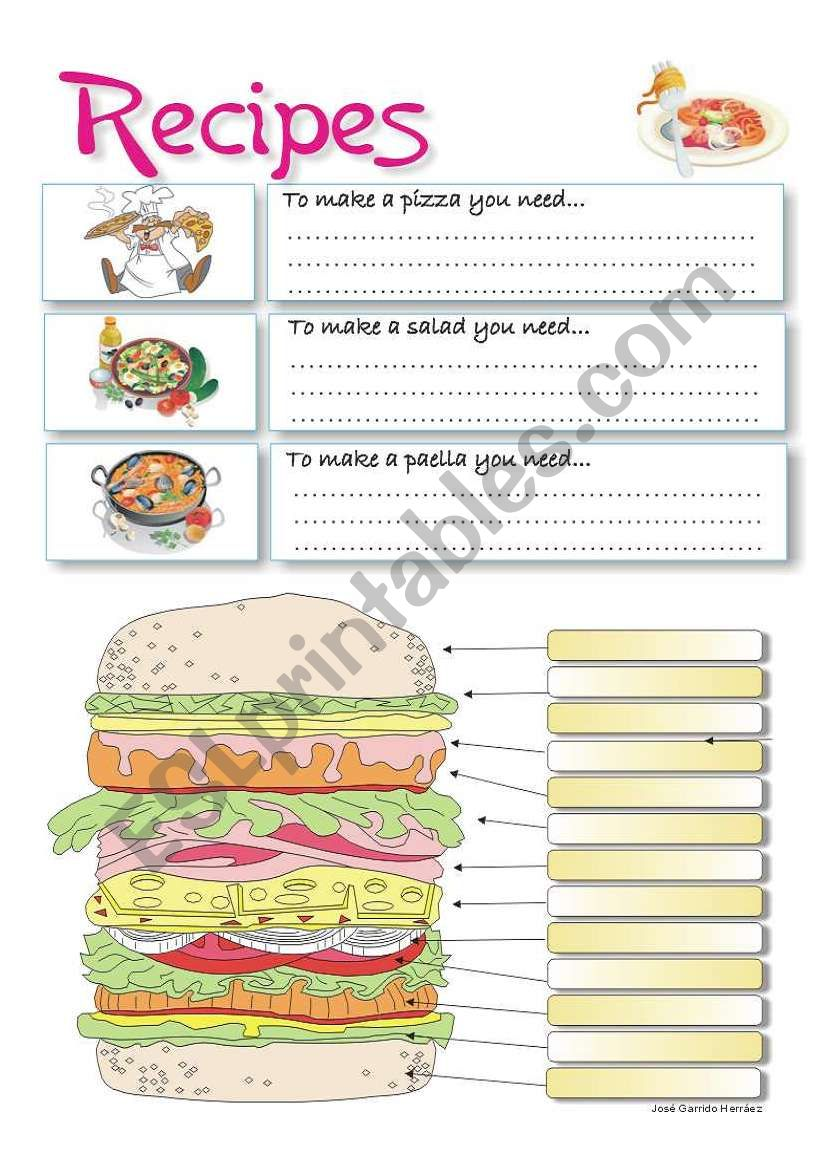 RECIPES worksheet