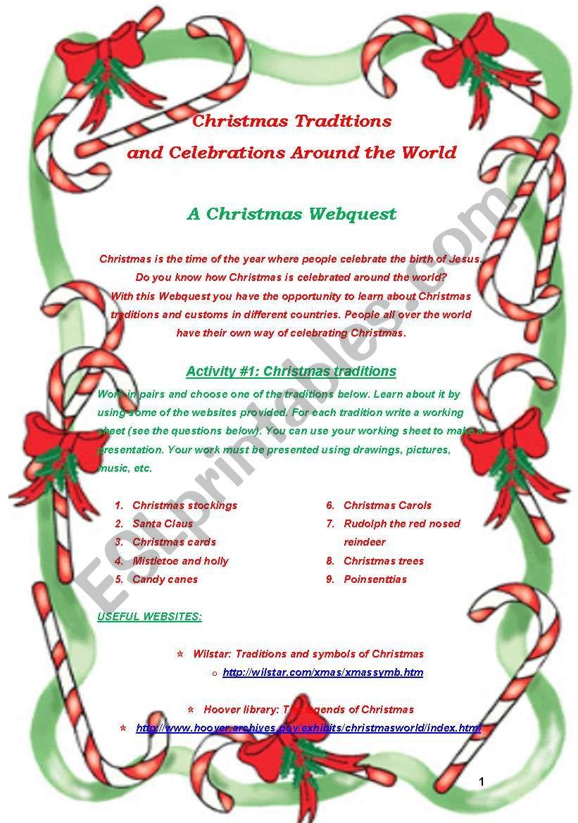 Christmas Webquest Project worksheet
