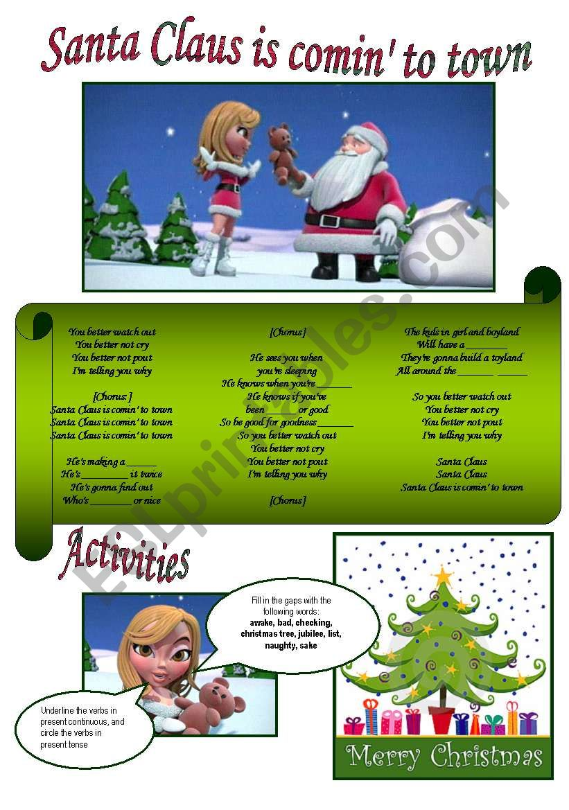 Santa Claus is coming to town worksheet