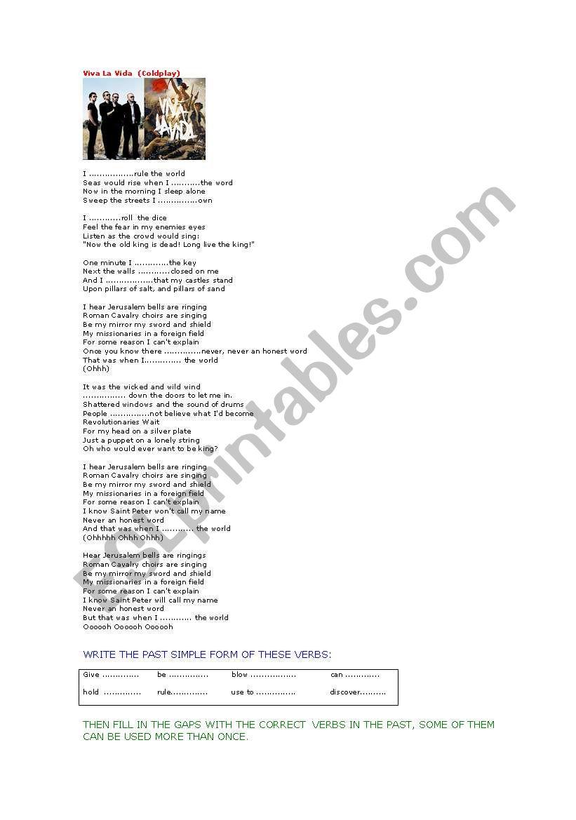 SONG VIVA LA VIDA (Coldplay) worksheet
