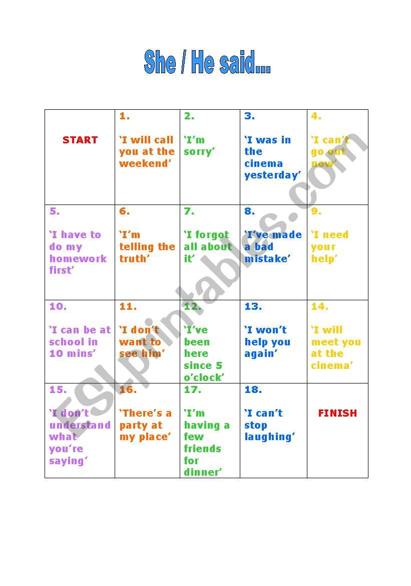reported speech board game - coloured version
