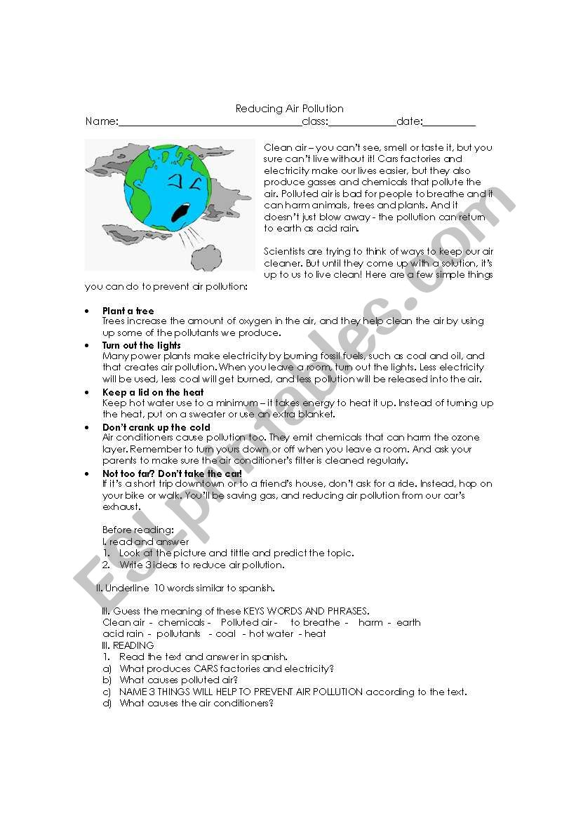 worksheet Air Pollution Worksheet english worksheets reducing air pollution worksheet