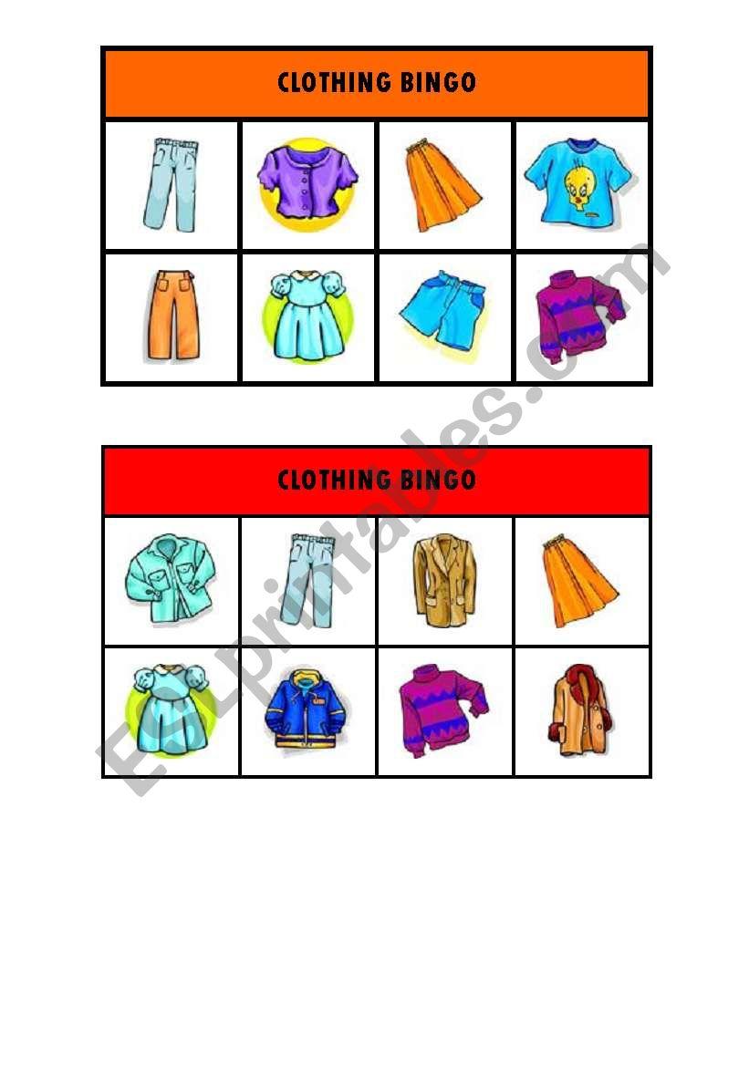Clothing bingo worksheet