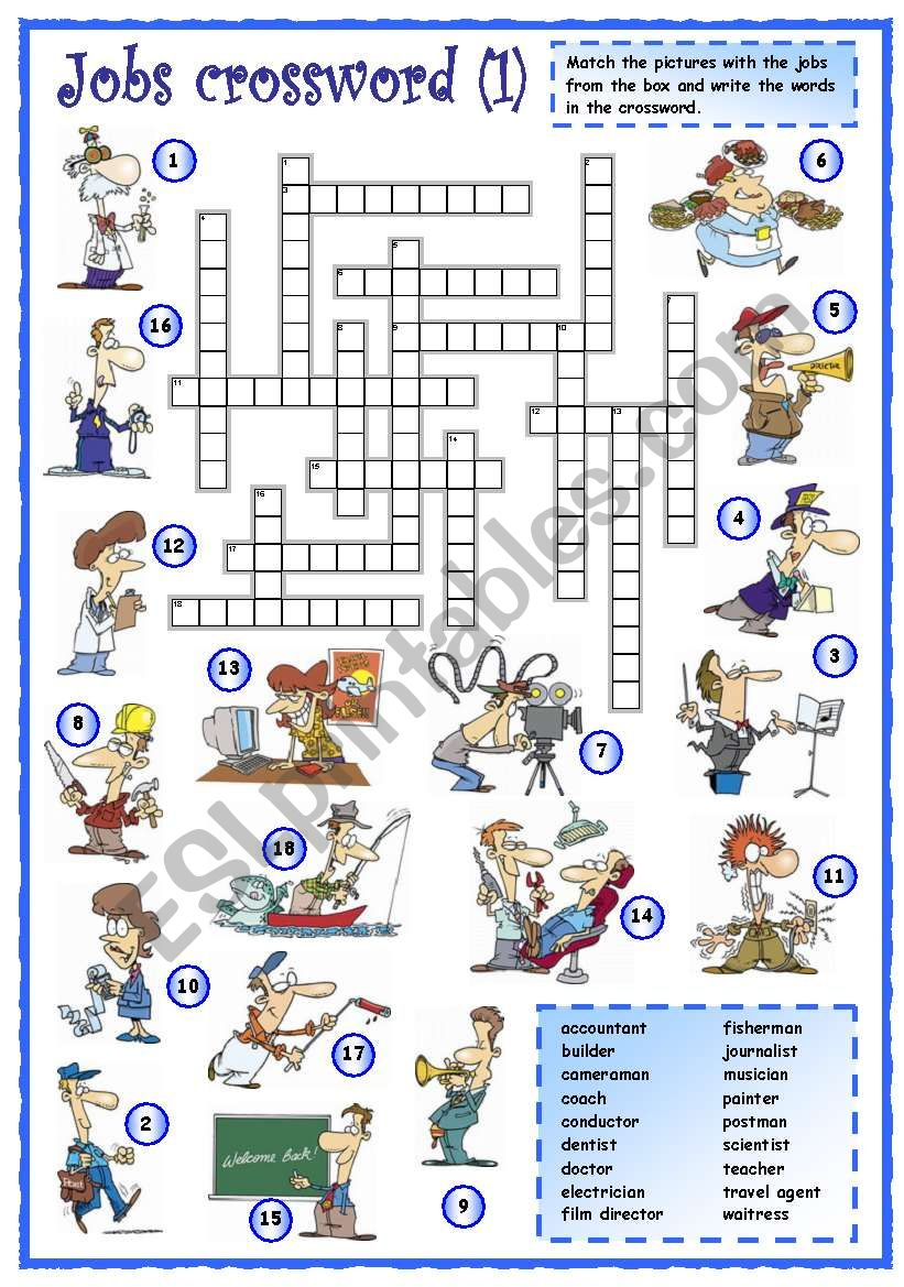 Jobs crossword (1 of 3) worksheet