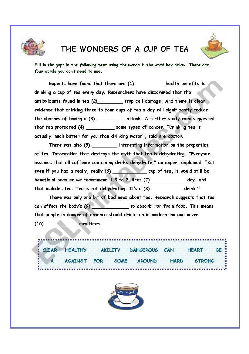 The Wonders of Tea worksheet