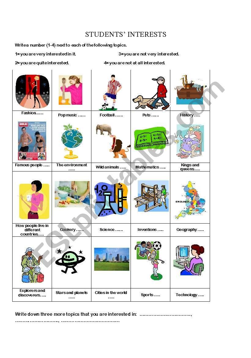 Students´ interests worksheet