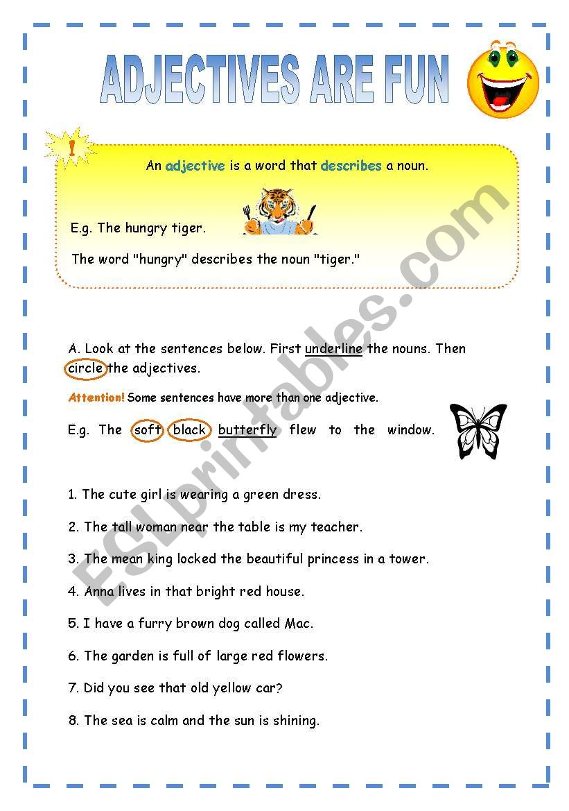 Adjectives are fun worksheet