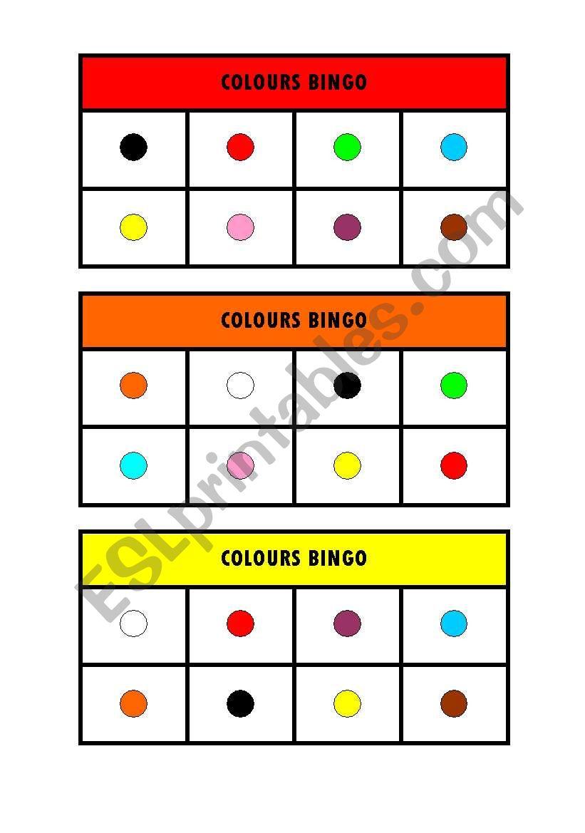 Colours Bingo worksheet