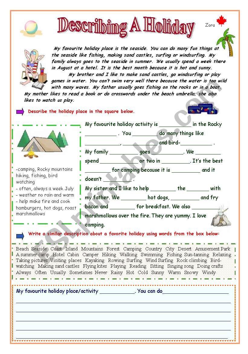 Describing a Holiday - ESL worksheet by Zora