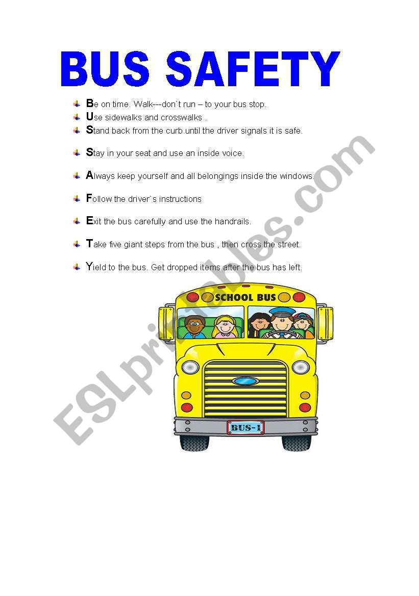 Worksheets Bus Safety Worksheets english worksheets bus safety worksheet