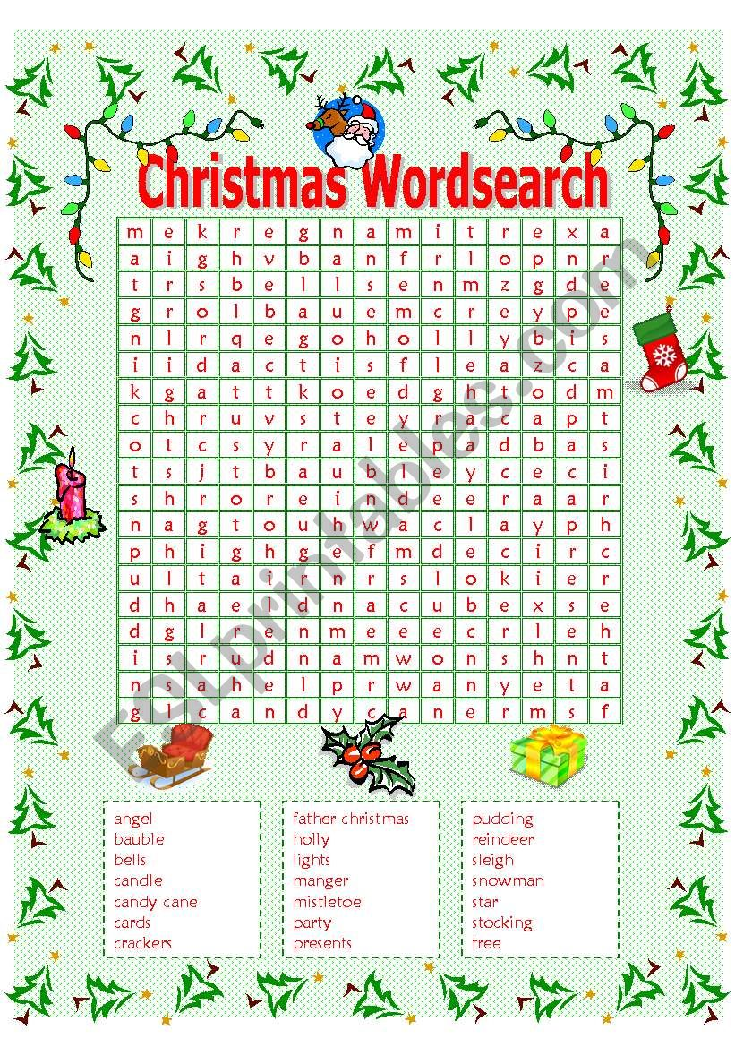 Christmas Wordsearch Esl Worksheet By Mowells