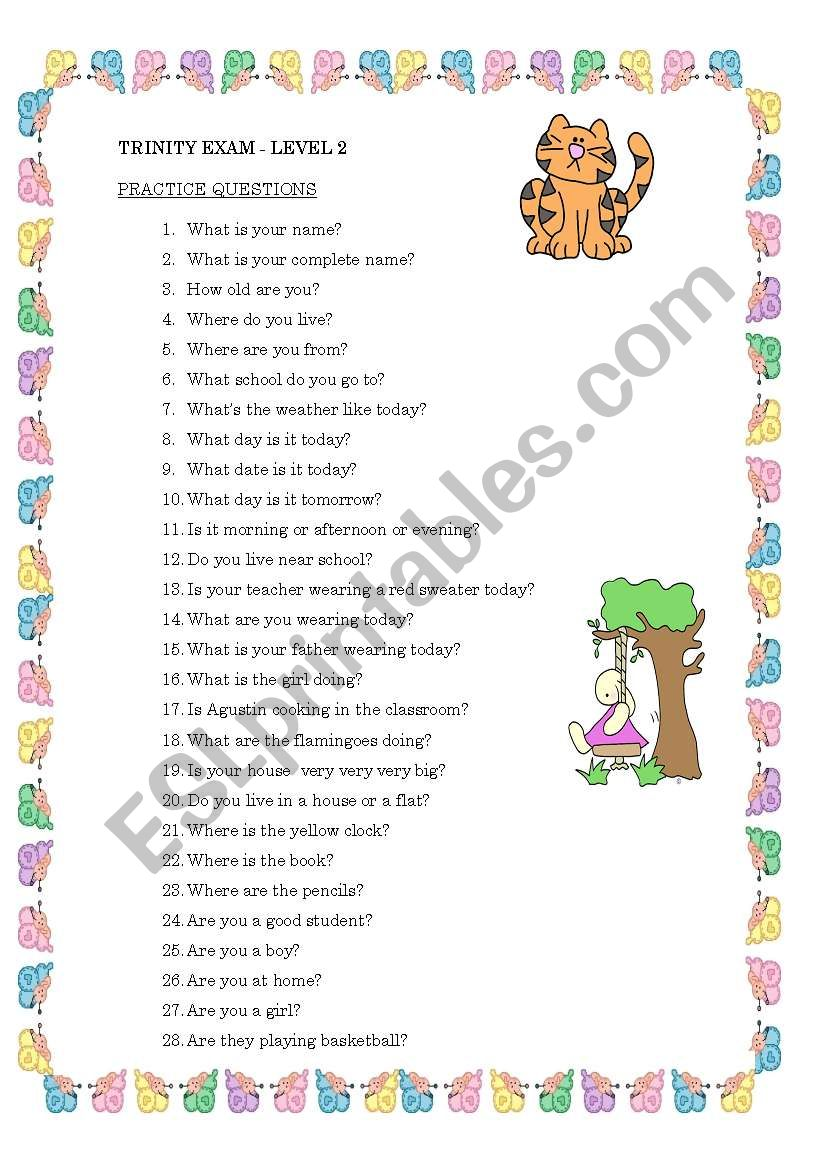 Conversation questions for Trinity Level 2