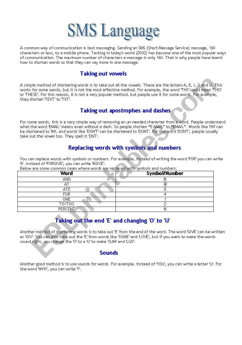 Sms Language Esl Worksheet By Anastasia V