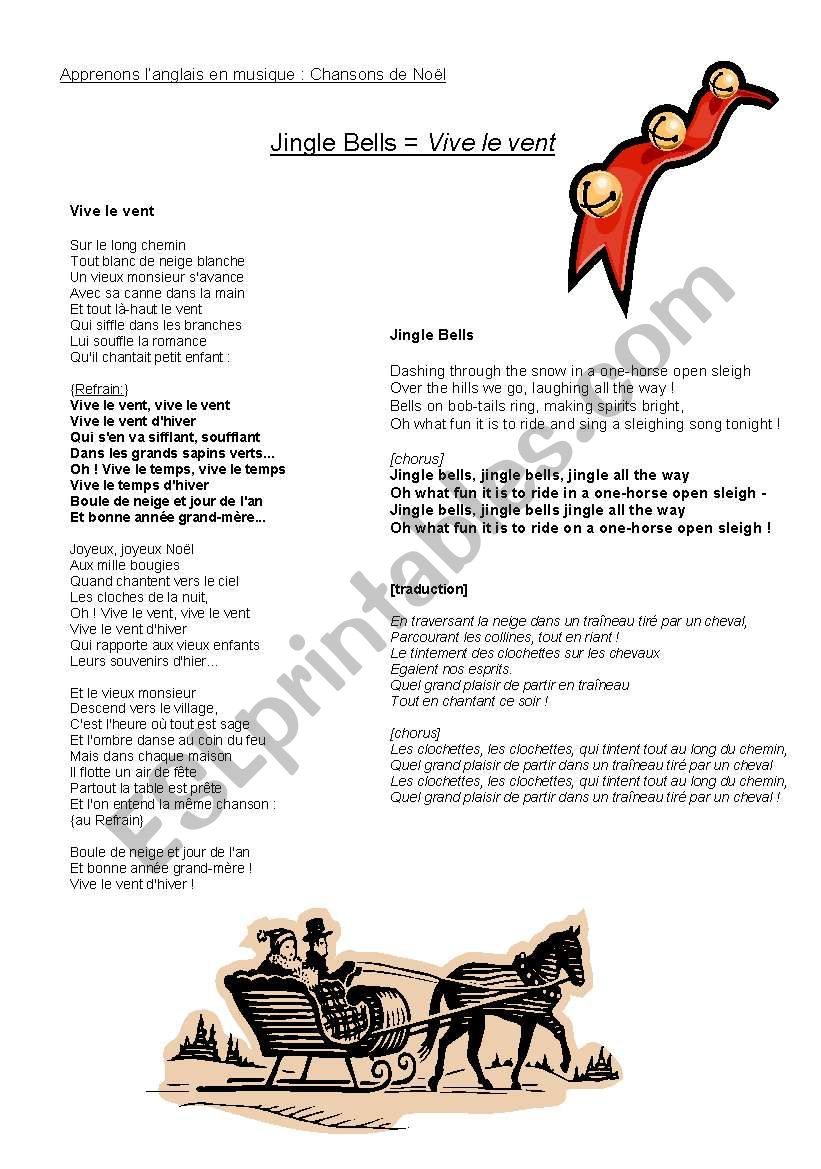English worksheets: Learning English Through Music : Winter Songs