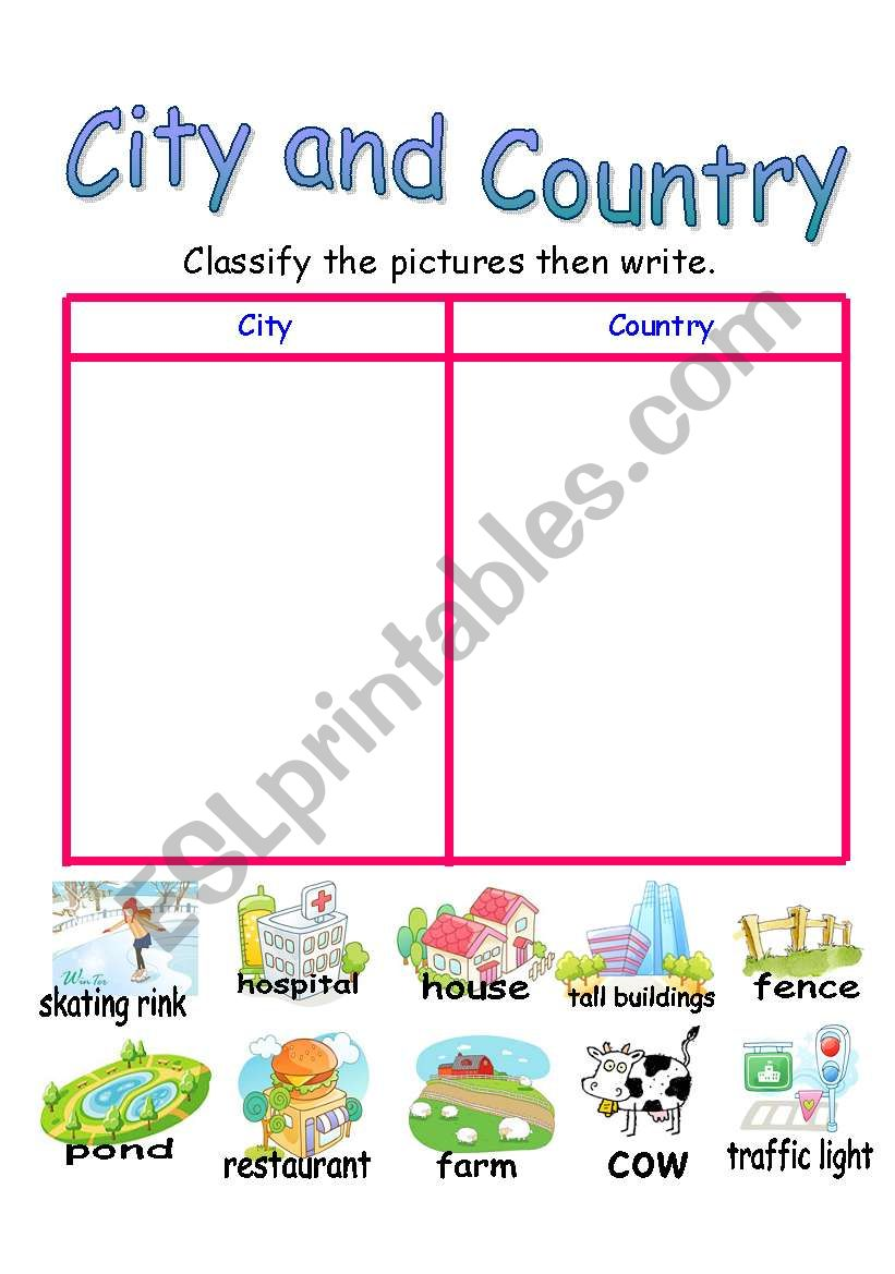 City and Country worksheet