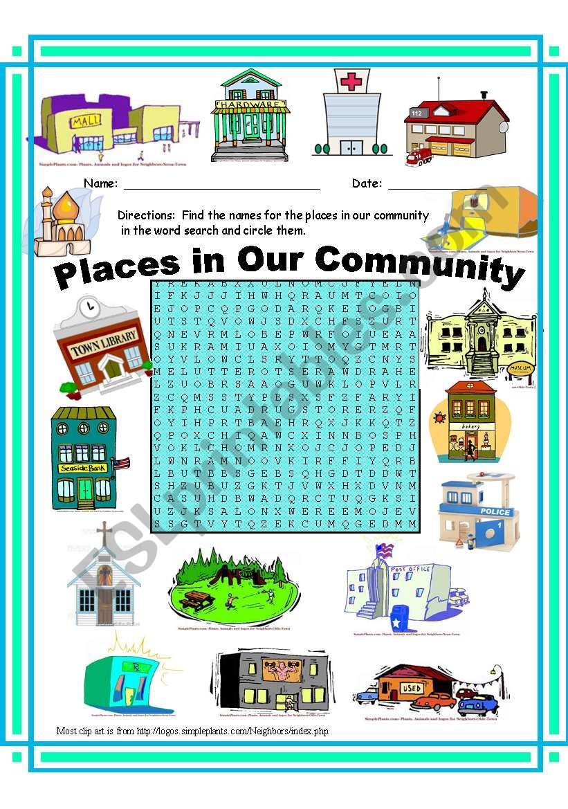 Places in Our Community WordSearch