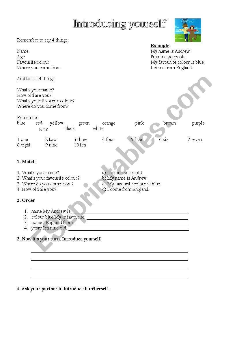 Introducing yourself worksheet